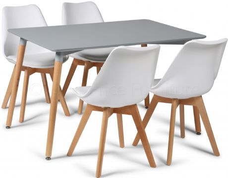 Toulouse Tulip Eiffel Designer Dining Set Grey Rectangular Table & 4 White Chairs Sale Now On Your Price Furniture